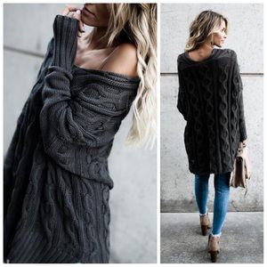 New dark olive cable knit oversized sweater