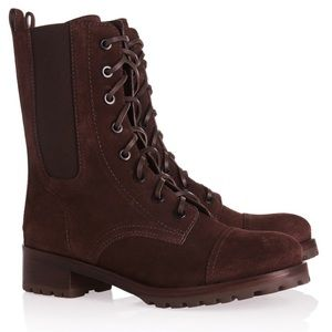 Tory Burch Brown Suede Broome Combat Boots