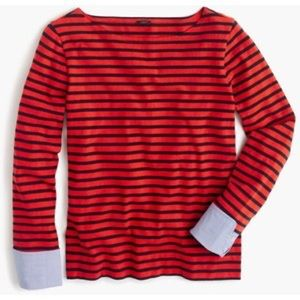 Jcrew striped boatneck tee with built-in cuffs
