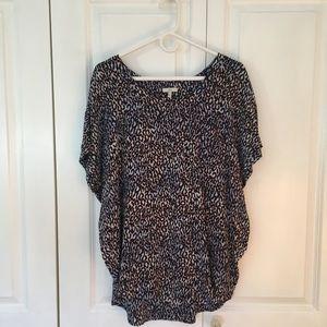 Joie Leopard Print Silk Short Sleeve Blouse