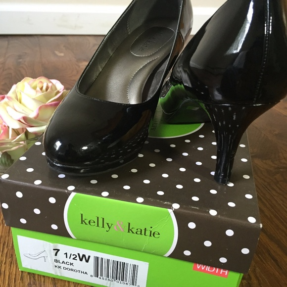 Kelly & Katie Shoes - KELLY & KATE ROUND TOE BLACK PATENT PUMP HEELS