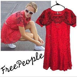 Free People Beautiful Dreamer Lace Dress in Cherry