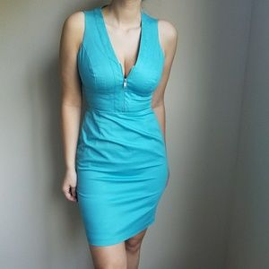 Form-Fitting Turquoise Halter Dress