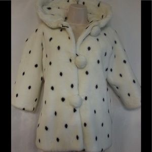 Other - White Fake Fur Coat with Black Spots from Herrods