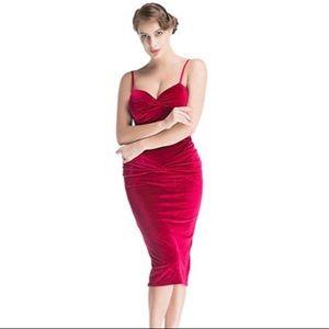 Mucin Pin-up Velvet Midi Dress