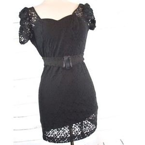 Guess Little Black Lace Dress With Belt Size 0