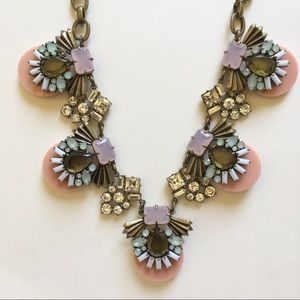 Jcrew pink floral statement necklace