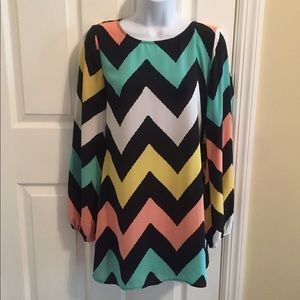 Chevron, Pastel Long Sleeve Dress - Size Small