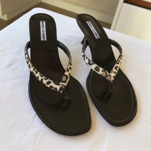 NWOB Manolo Blahnik Textured Cheetah Print Sandals