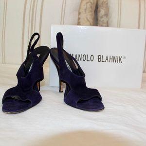 Manolo Blahnik Navy Slingback Sandals