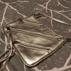 *Like New* Silver Rebecca Minkoff crossbody zip