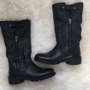 Vince. Leather, Fur Lined Moto Boots