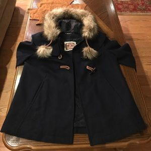 Juicy Couture Wool Pea Coat w Removable Fur Hood