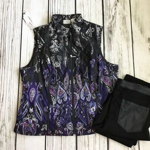Chico's paisley printed quilted vest