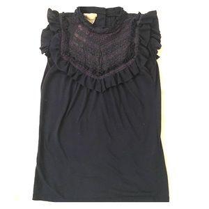 Zara High Neck Ruffle Lace Crochet Top