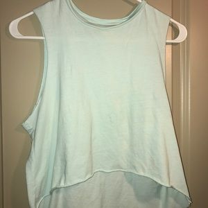 Forever 21 high low blue distressed crop top