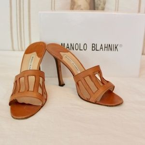 Manolo Blahnik Cutout Brown Sandals