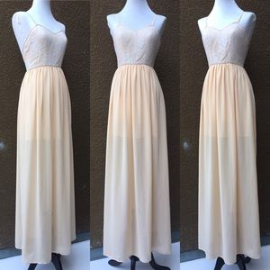 Keepsake the Label Tan & Ivory Lace maxi dress