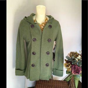 Millard Fillmore Woolblend Hooded Green Peacoat