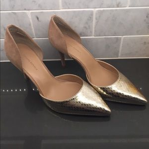 Banana Republic Gold and Tan Suede Heels