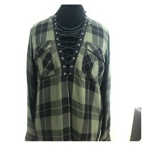 Green and Black Plaid top