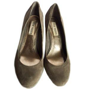 Grey suede low heel pumps