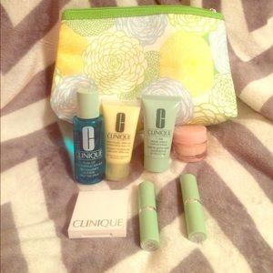 Clinique makeup bag, makeup, and accessories