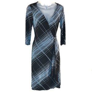 BCBG Black & Blue Long Sleeve Wrap Dress