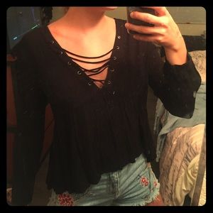 LUSH long sleeve lace up blouse in black