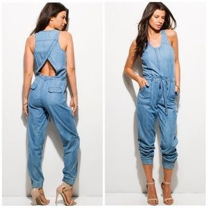 New!  Chambray Denim Jumpsuit