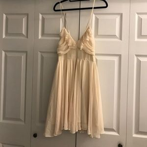 Cream ruffle cocktail dress