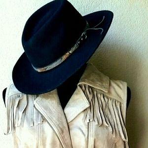 Black Wool Felt Western Boho Hat Pheasant Band