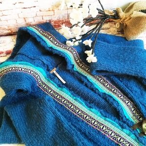 Free People Blue Big Button Sweater, Size Medium