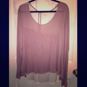 Long Sleeve Light Weight Sweater w| Sheer Insets