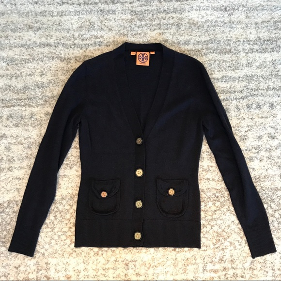 83% off Tory Burch Sweaters - Tory Burch navy cardigan gold ...