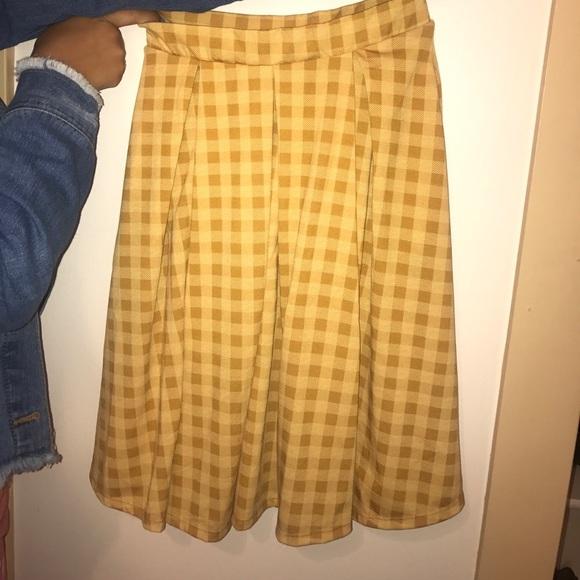 3d614ab55 LuLaRoe Skirts   Yellow Plaid Skirt   Poshmark
