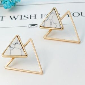 Jewelry - Triangle Marble Stone Ear Jackets