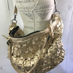 Gold Leather Tote Bag NWT