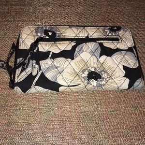 Vera Bradley Black-White Zip Clutch/Wallet