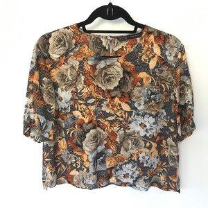 Zara Basic crop top floral blouse