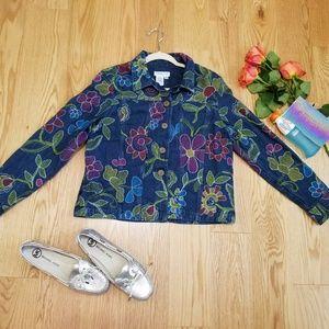 Coldwater Creek Denim Embroidered Floral jacketPM