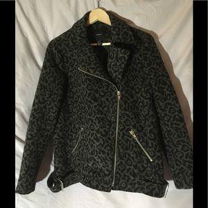 Forever 21 Wool Blend Biker Coat Animal Print Sz M