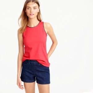 Faux Leather Scalloped Trim Tank