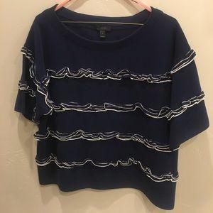 J.CREW Ruffle boat neck sweater