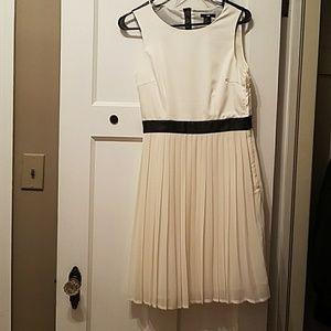 White Backless Pleated dress w/ Black Faux Leather