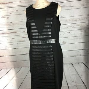 Pleather Detail Sheath Dress