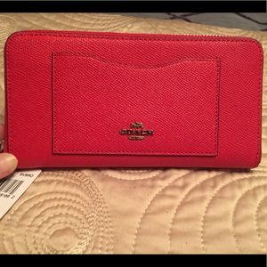 NWT Coach Red Leather Accordion Zip Wallet