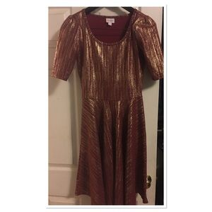 LuLaRoe Nicole in Red with Gold Pattern