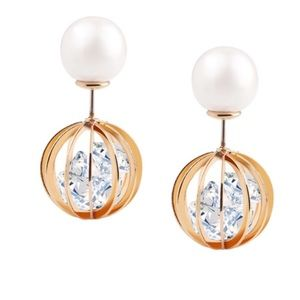 Jewelry - Pearl Rhinestone Hollow Globe Earrings