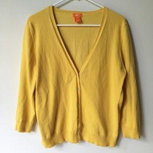 Joe Fresh 3/4 Sleeve Yellow V-Neck Cardigan Sz XL